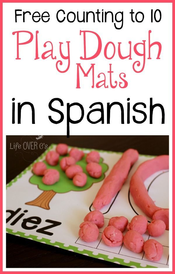 FREE Play Dough Trees for Counting 1-10 Spanish