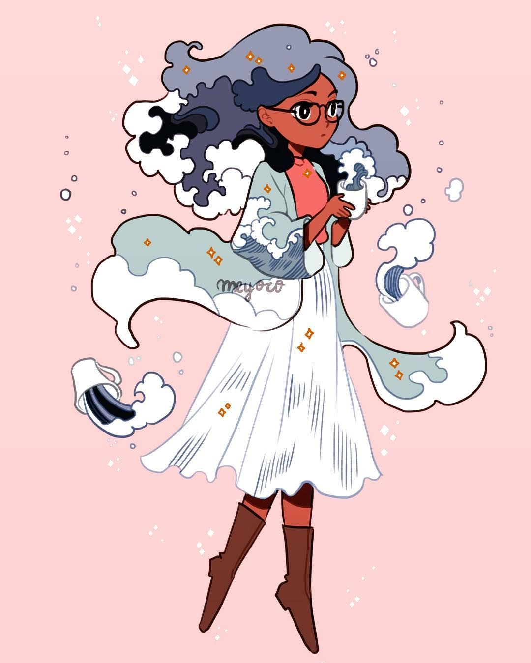 Made a new witchsona!  The wave witch, brews tea with ocean waves every morning~