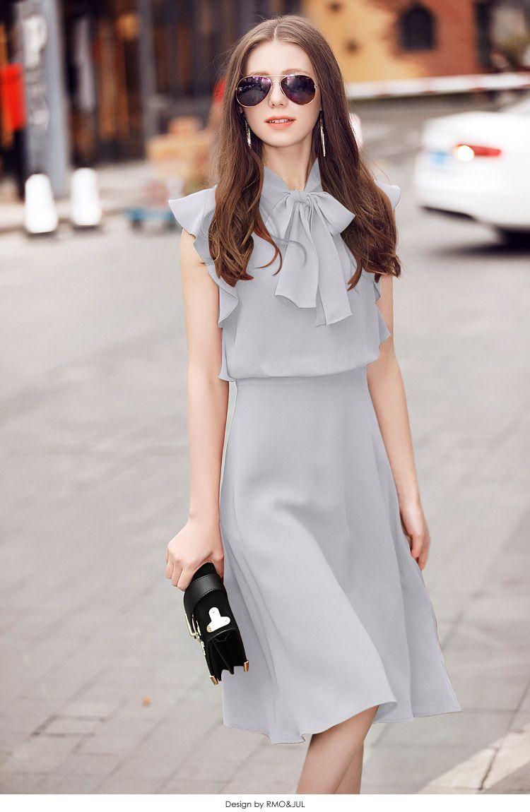 Đầm lụa tằm ý tay cánh tiên thắt nơ màu xám | Đầm body đẹp | Trang phục tao  nhã, Thời trang, Dress outfits