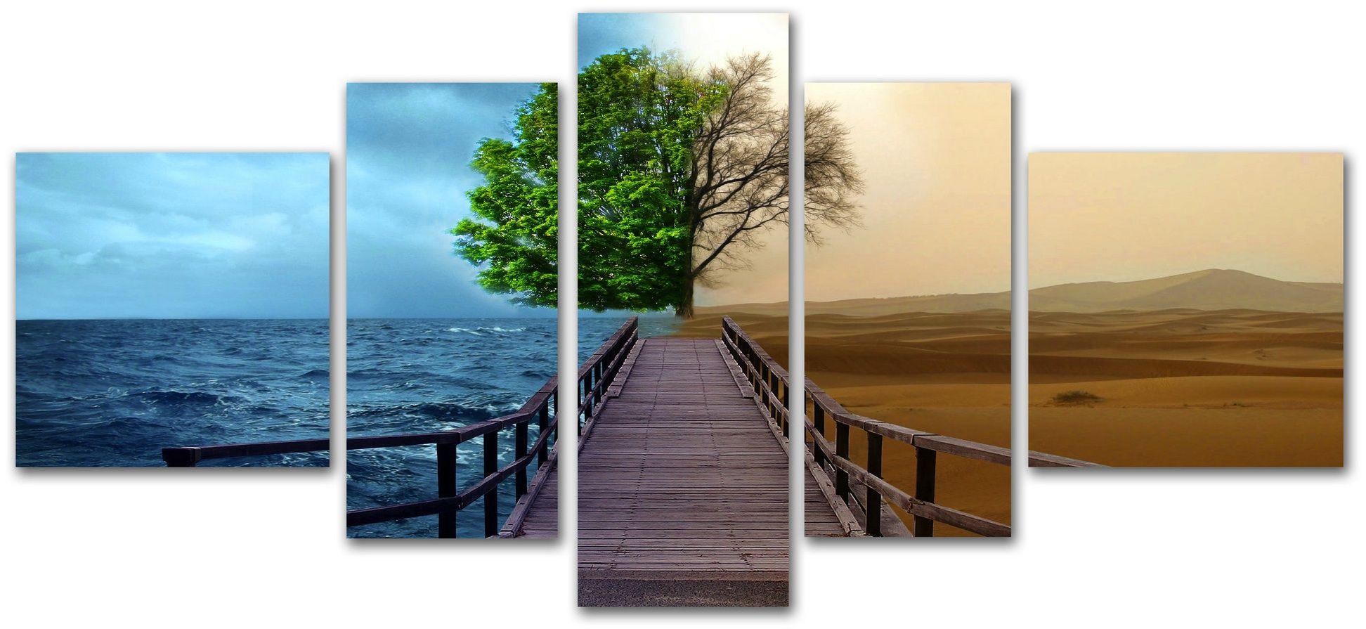 Cuadro paisaje mar y desierto con rbol de fondo lienzo - Cuadros originales baratos ...