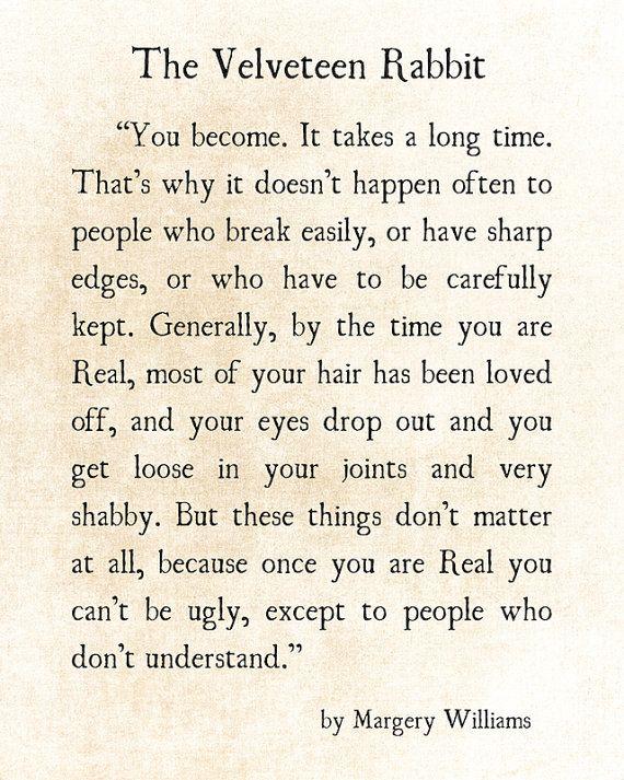 Velveteen Rabbit Quote Margery Williams Literary Print Love | Etsy