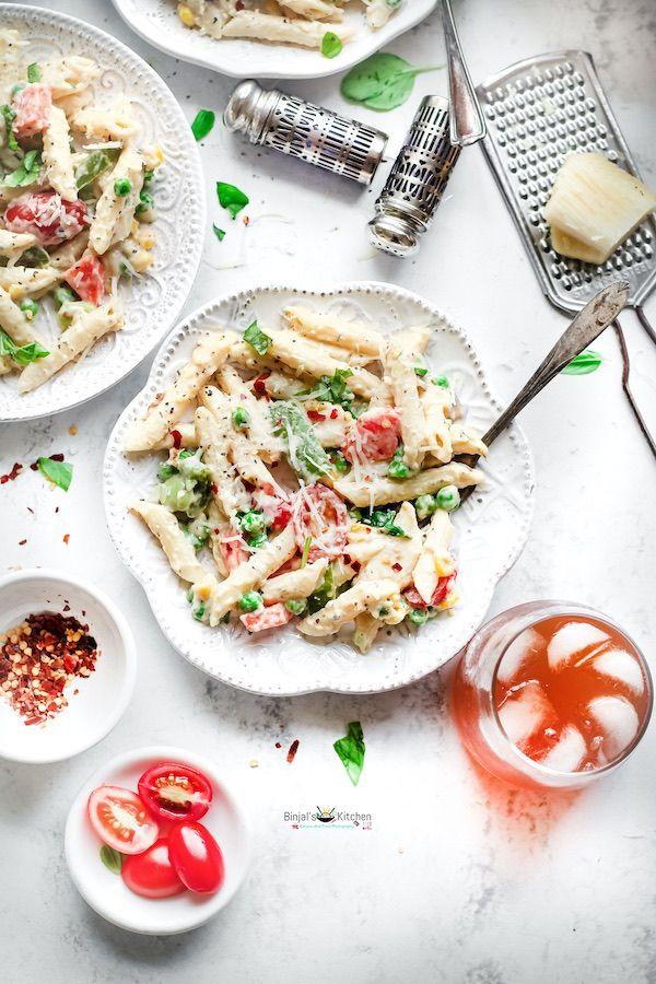 vegetable white sauce pasta binjal s veg kitchen recipe in 2020 white sauce pasta pasta on hebbar s kitchen white sauce pasta id=80711