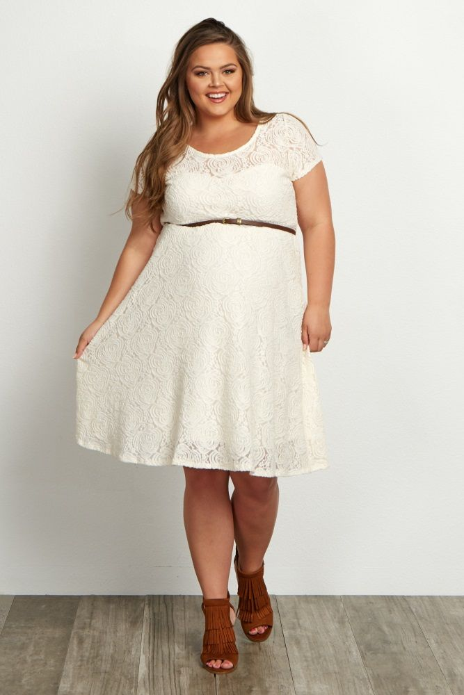 Ivory-Lace-Belted-Plus-Size-Dress | maternity clothes | Plus ...