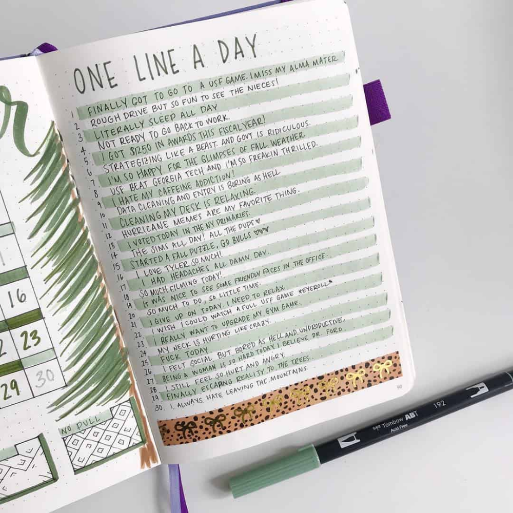 45 different styles to create One Line a Day in your Bullet Journal | My Inner Creative