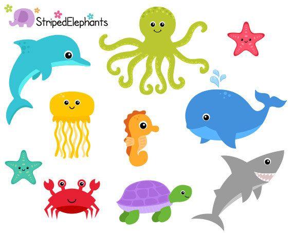 Sea Creatures Clip Art Under The Sea Clipart Ocean Animals Etsy Under The Sea Clipart Cute Doodles Drawings Sea Clipart