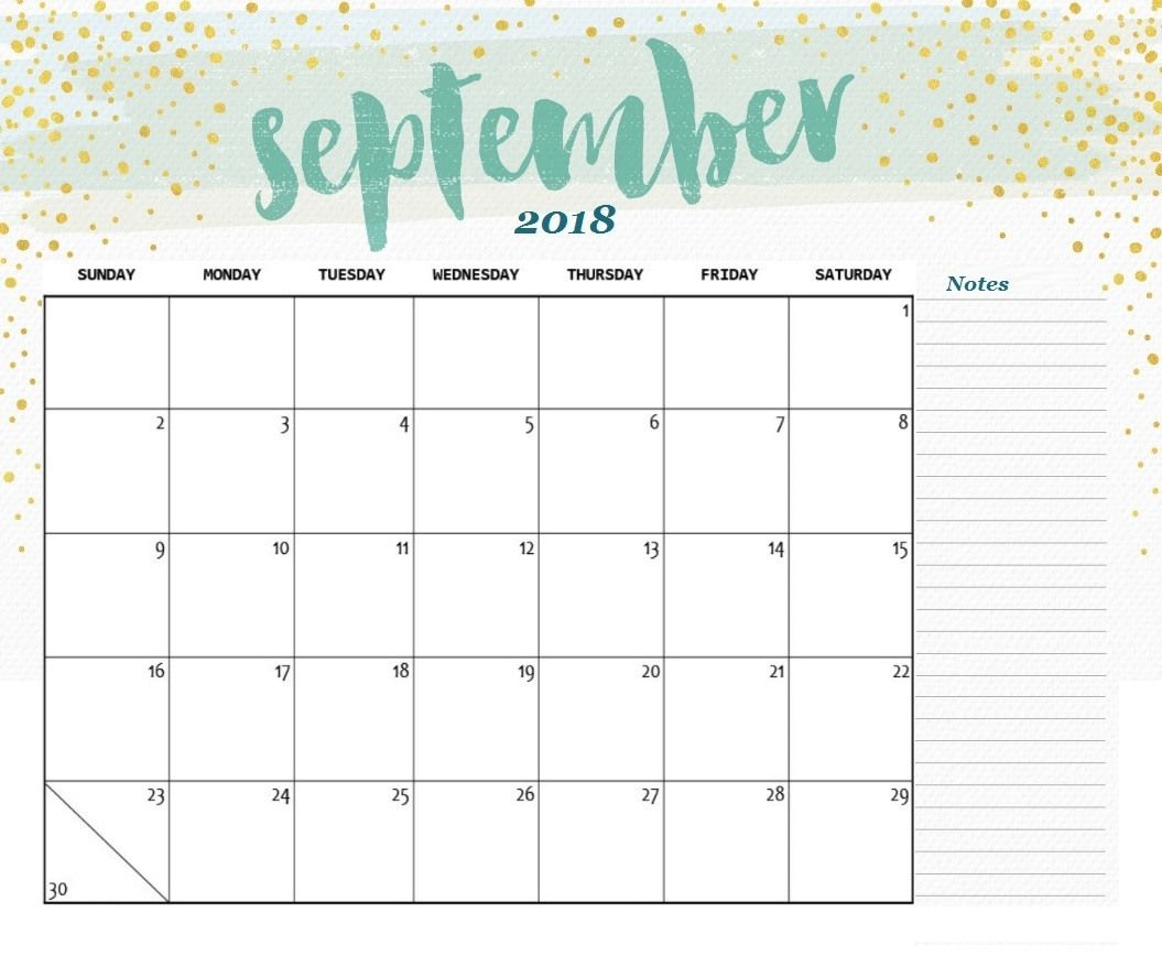 photograph relating to Printable September Calendar titled September 2018 Calendar A4 Dimension Printables