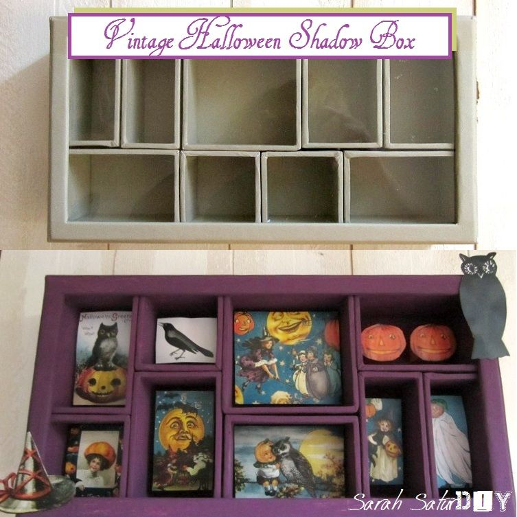 Vintage Halloween Shadow Box Halloween tags/crafts Pinterest - vintage halloween decorating ideas