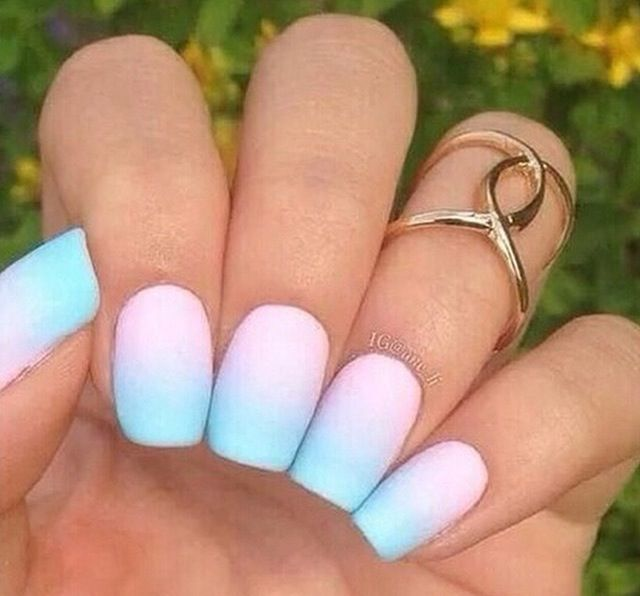 Purple Blue Ombre Matte Nails