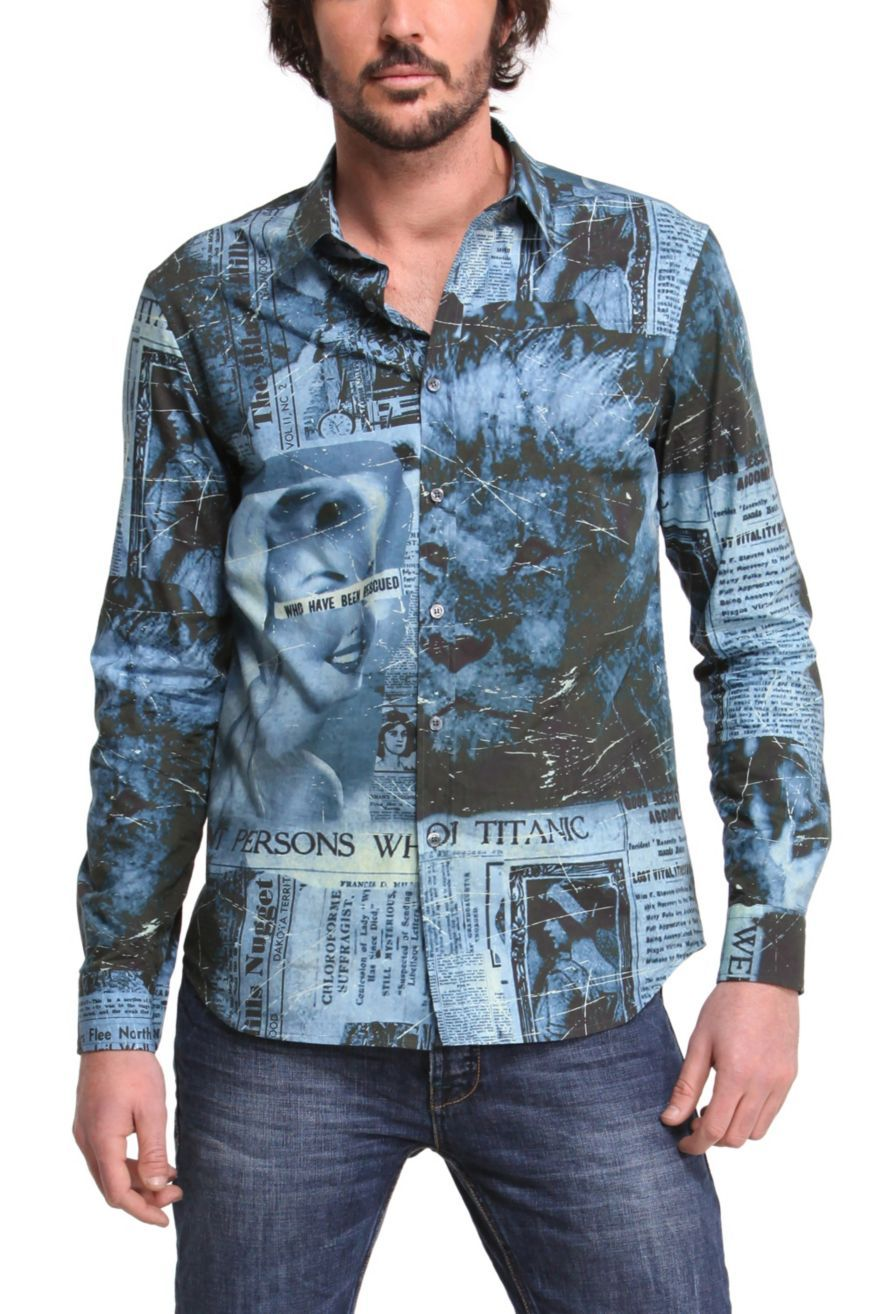 Xavier color printing - Desigual Mens Shirt Xavier Long Sleeves Royal Blue Men S Shirt With Unique Desigual Print Buttons
