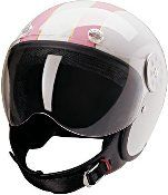 HCI White/Pink Stripe Open Face DOT Approved Motorcycle Helmet
