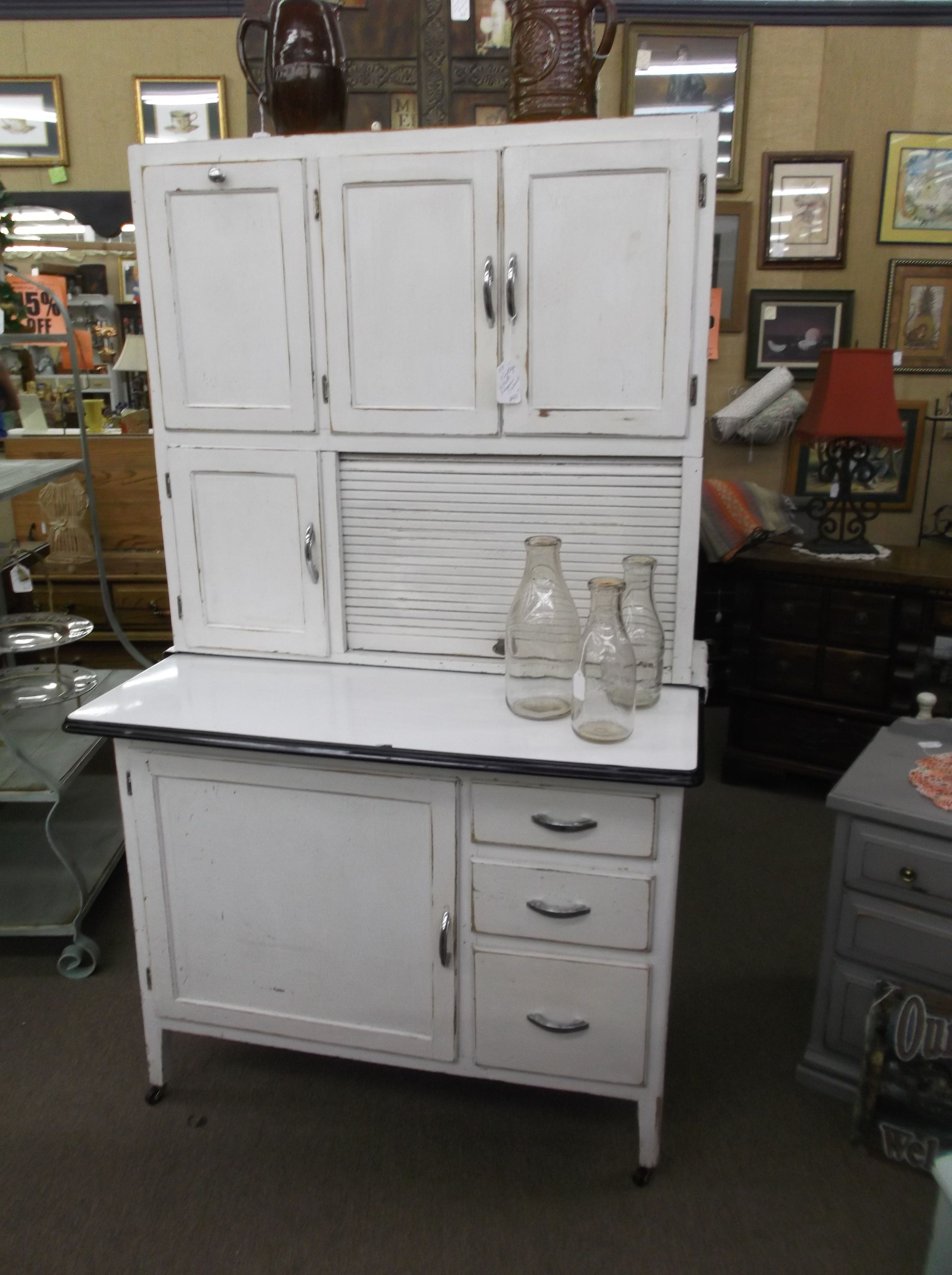 SOLD - Hoosier style kitchen cabinet with enamel pull out, flour ...