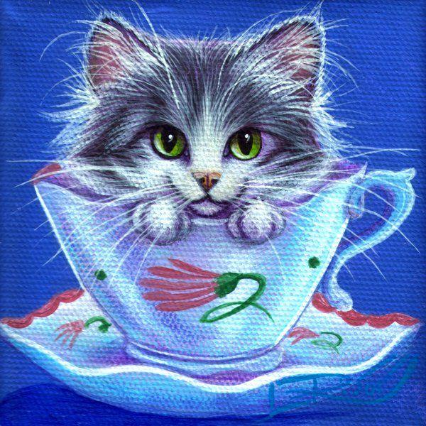 """Susie Cooper Tea Time Kitty"" by 'carefulwhatyawishfor on DeviantArt♥≻★≺♥"