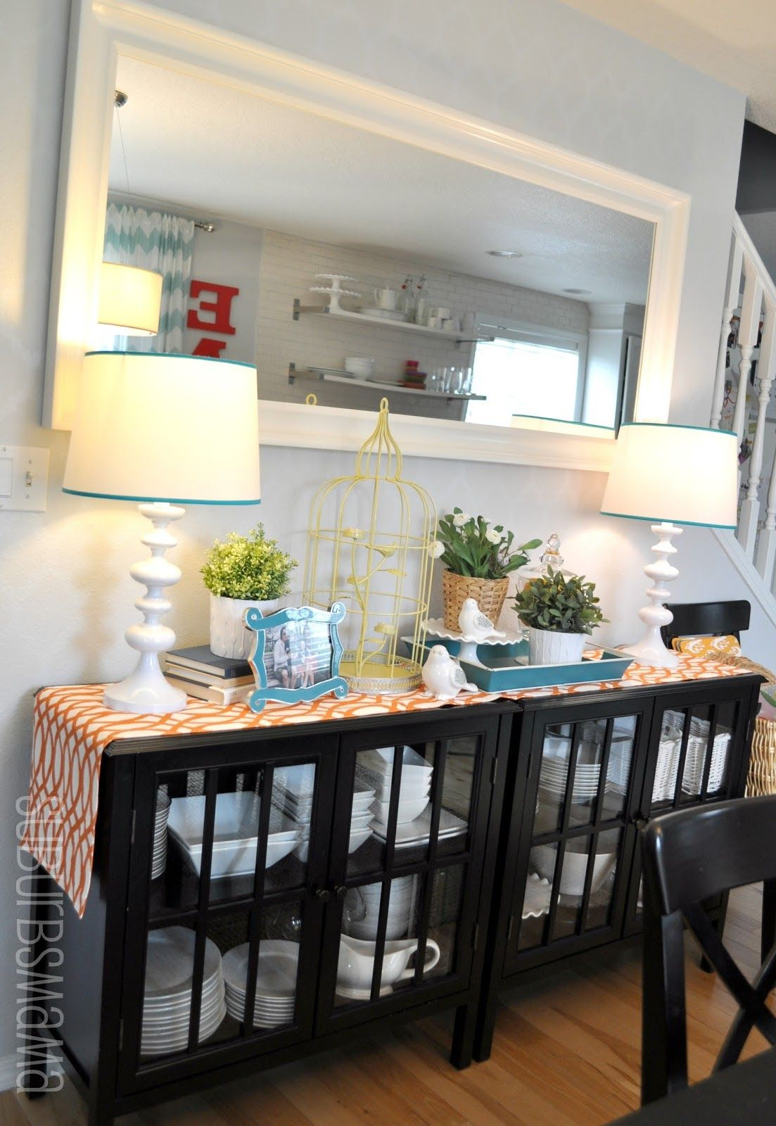 White Kitchen Hutch Target two cabinets to create a buffet table in the dining room