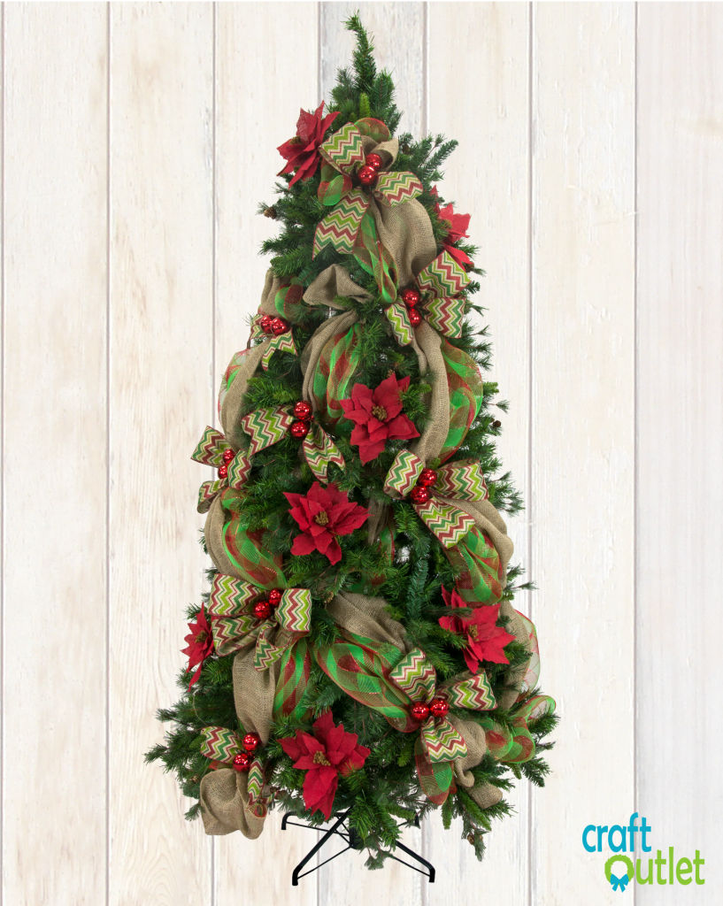 Christmas Tree Decorating With Burlap And Deco Mesh Craft Outlet Inspiration Mesh Christmas Tree Ribbon On Christmas Tree Christmas Tree Decorations