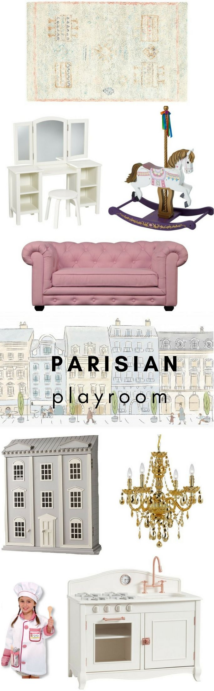 Parisian Playroom : cute playroom and nursery ideas for baby girls. Parisian-inspired playroom featuring a carousel rocking horse, pink tufted couch, white vanity and other feminine details #playroom #girlnursery