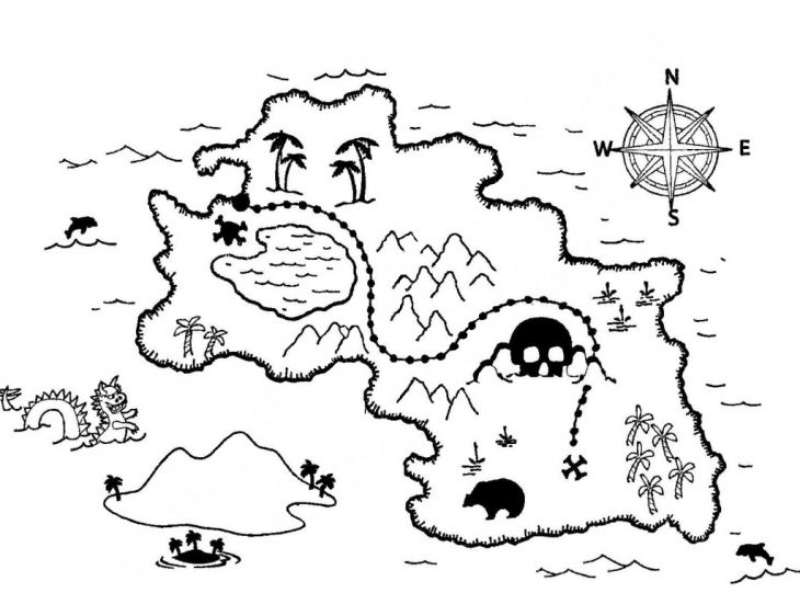 Preschool coloring page of treasure map printable | Fantasy ...
