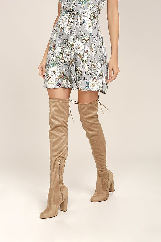 f53f6bda6957 So Much Yes Taupe Suede Over the Knee Boots