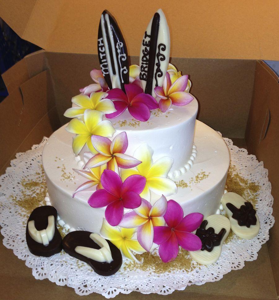 Hawaiian Wedding Cake with Edible Surfboards and Slippers (Flip Flops).