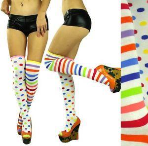 b795b1b26fd16 Neon Striped Knee High Socks | ... Opaque Rainbow Polka Dot Neon Striped  Over The Knee High Sock | eBay