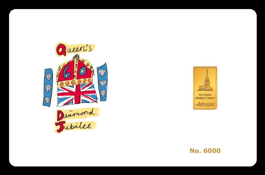 A Commemorative Limited Editiontribute To Hm Queen Elizabeth Karatbars Card With Diamond Jubilee Emblem And 1 Gram 24 Carat Pure Cards Queen Elizabeth Jubilee