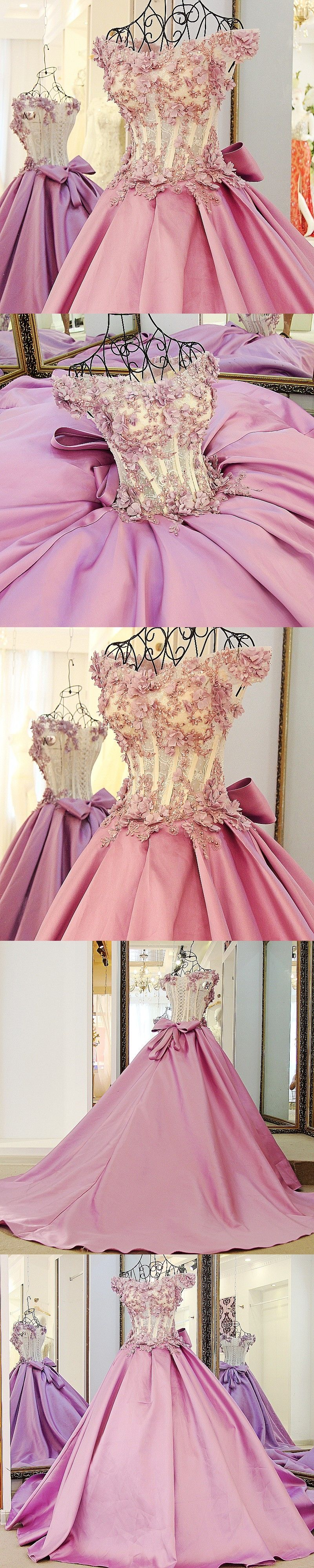Ball Gown Prom Dresses Brush Train Hand-Made Flower Lace Prom Dress ...