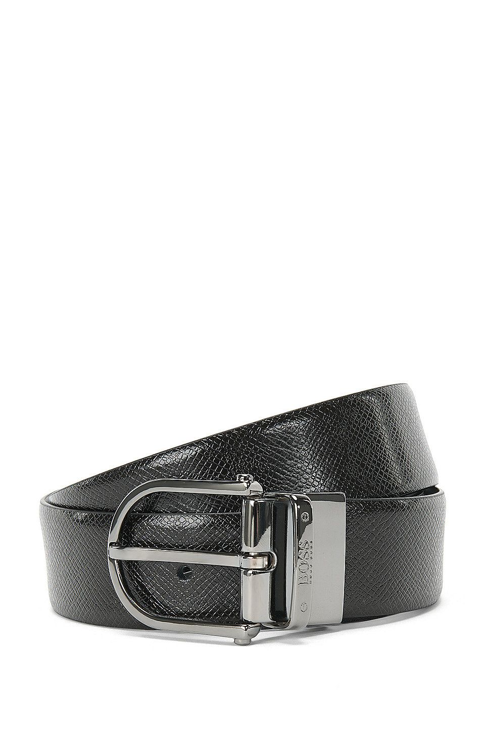 d7963b472db0 HUGO BOSS Reversible leather belt with a pin buckle   Otis Or35 ps  - Black  Business