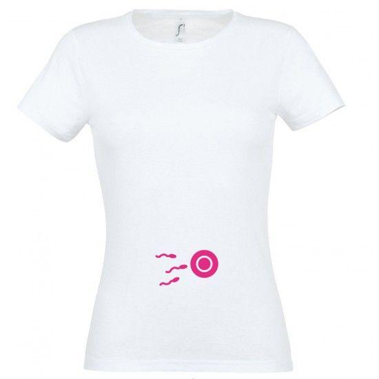 efc94ed331 Kis spermium mintás női póló fehér színben | Kismama mintás pólók ...