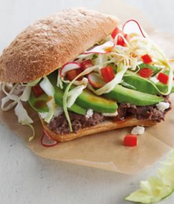 avocado and black bean torta