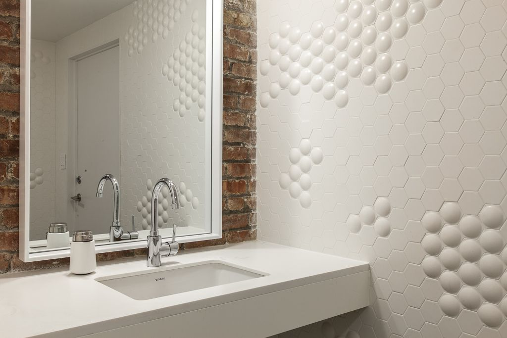 White Hexagon Dome Tiles On A Bathroom Wall Create A Classy Look For - Commercial bathroom walls