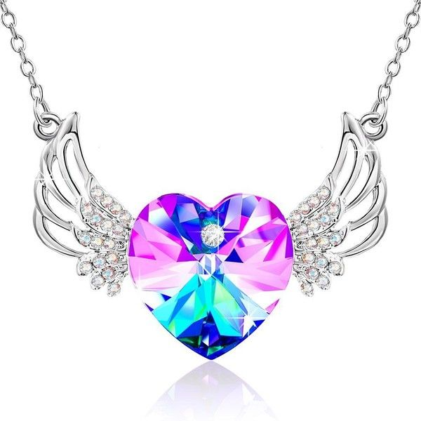 Love heart wings crystals from swarovski pendant necklace gifts love heart wings crystals from swarovski pendant necklace gifts 20 mozeypictures Images