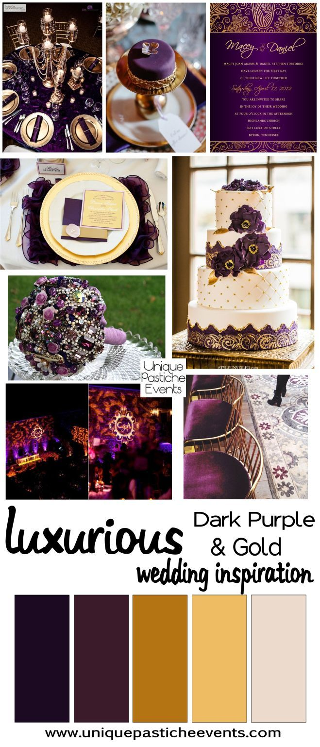 Luxurious Dark Purple Gold Wedding Inspiration Purple And