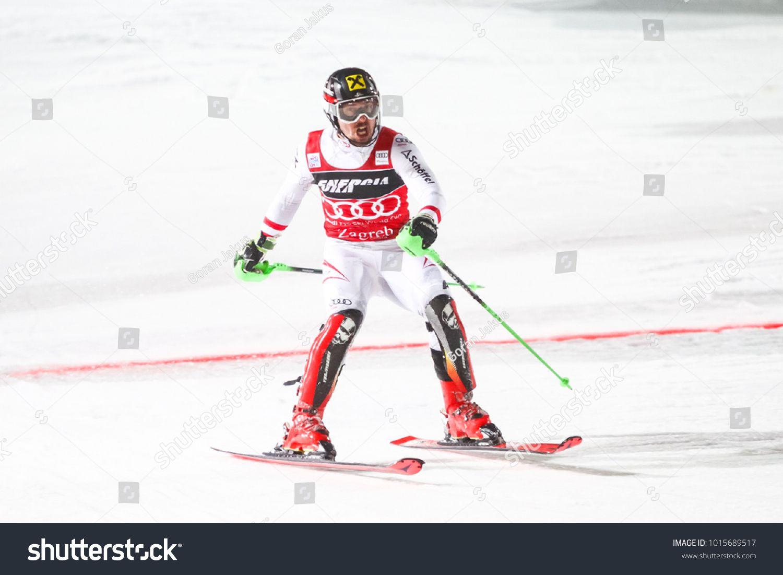 Zagreb Croatia January 4 2018 Hirscher Marcel Of Aut Competes During The Audi Fis Alpine Ski World Cup M Ad Paid Aut Alpine Skiing Skiing World Cup