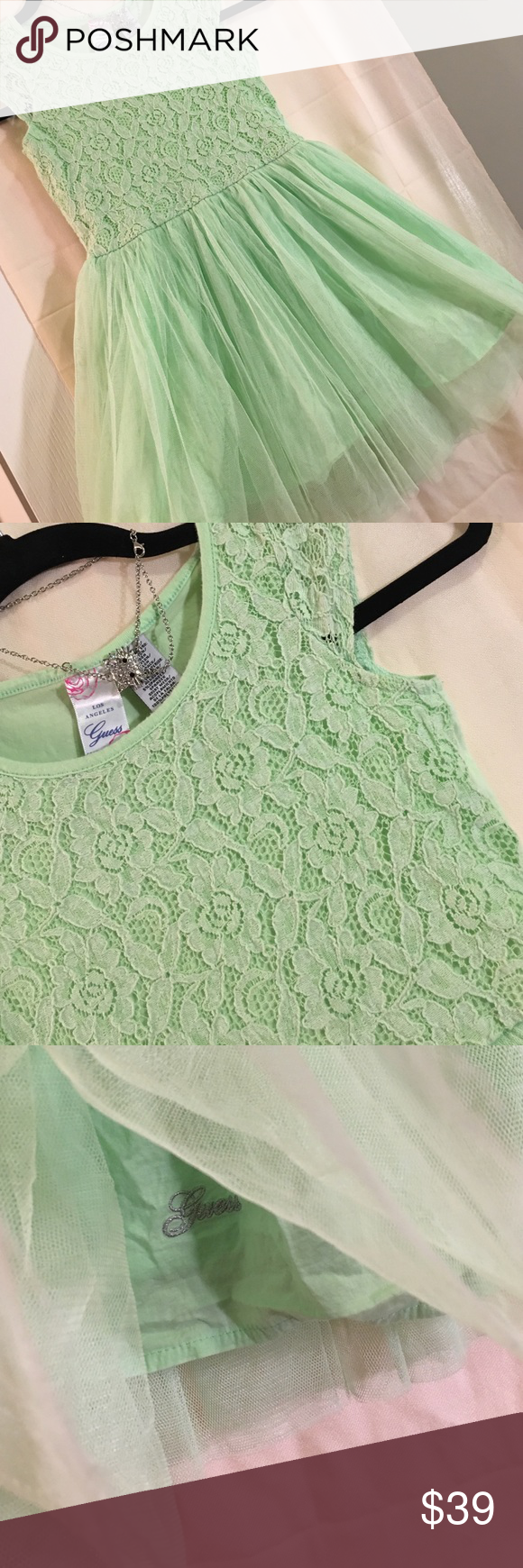 Precious, light green dress, sheer delight! A super happy dress, the princess is celebrating today! Pullover style, short sleeves, lace and tulle, totally awesome! Guess Dresses