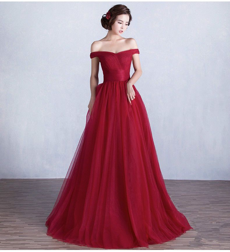 05beef5b8e Red Wedding Dress Formal Prom Evening Bridesmaid Gowns Off Shoulder Tulle  Long Formal Prom Dress