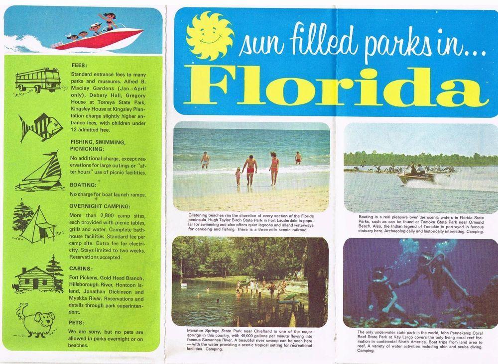 Vintage Florida Travel Brochure State Parks Gov Claude Kirk 1970 S