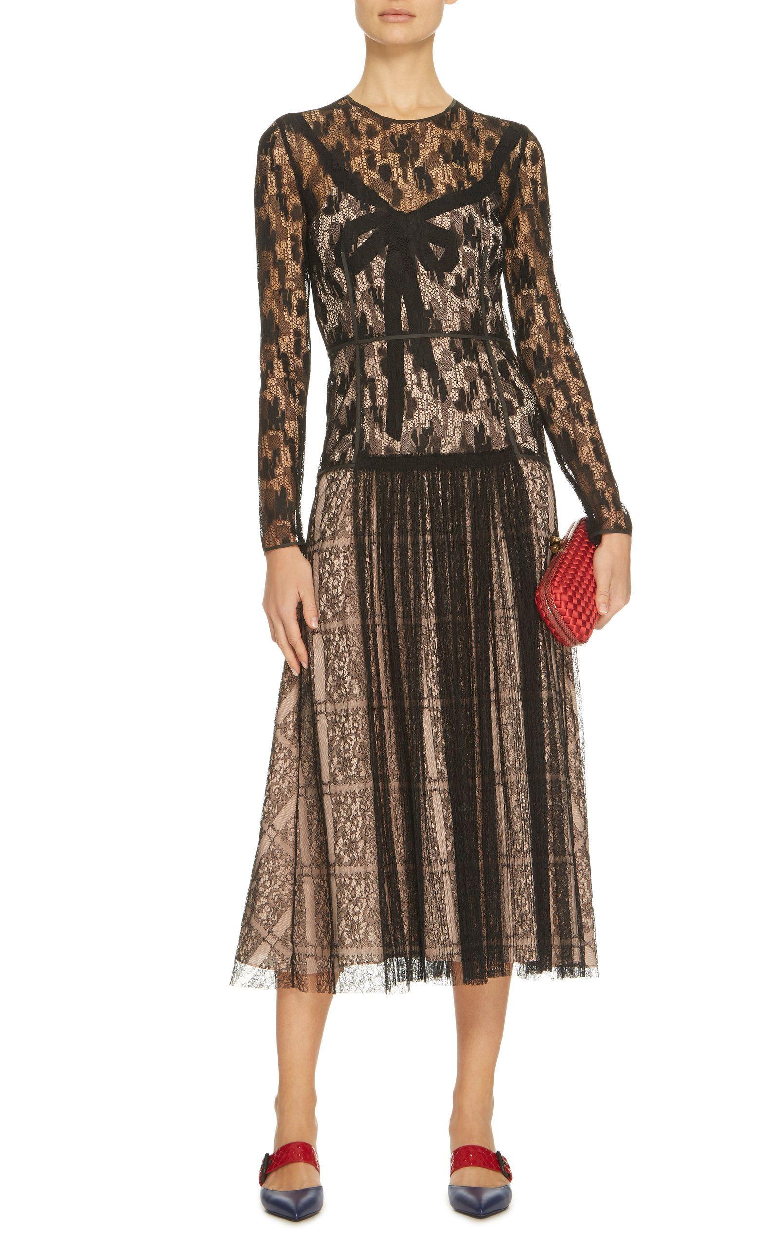Camouflage Lace Midi Dress Bottega Veneta NATNd