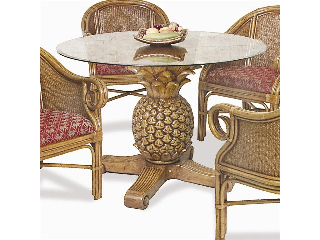 Round Rattan Pineapple Dining Table, Pineapple Dining Room Set