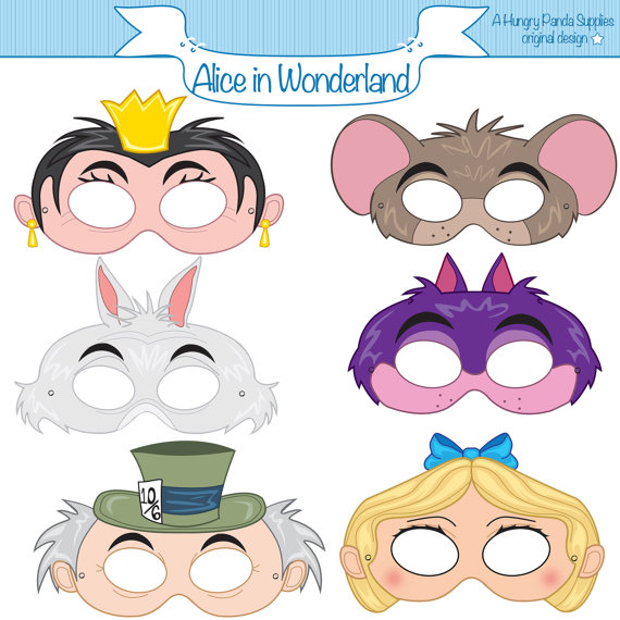 Alice in Wonderland Inspired Printable Party Masks | Imprimibles ...