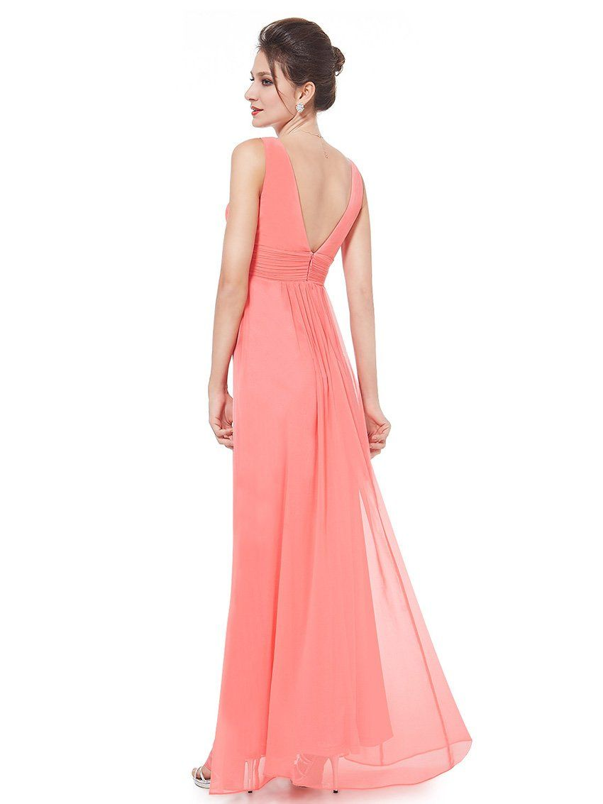 Ever Pretty Double V-Neck Ruched Waist Ladies Long Evening Dress ...