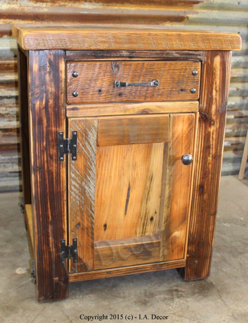 Rustic Wood Bedside Table: Rustic Barnwood Night Stand