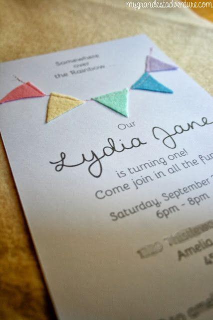 Diy birthday bunting invitations rainbow pastel birthday theme diy birthday bunting invitations rainbow pastel birthday theme my grandest adventure stopboris Image collections