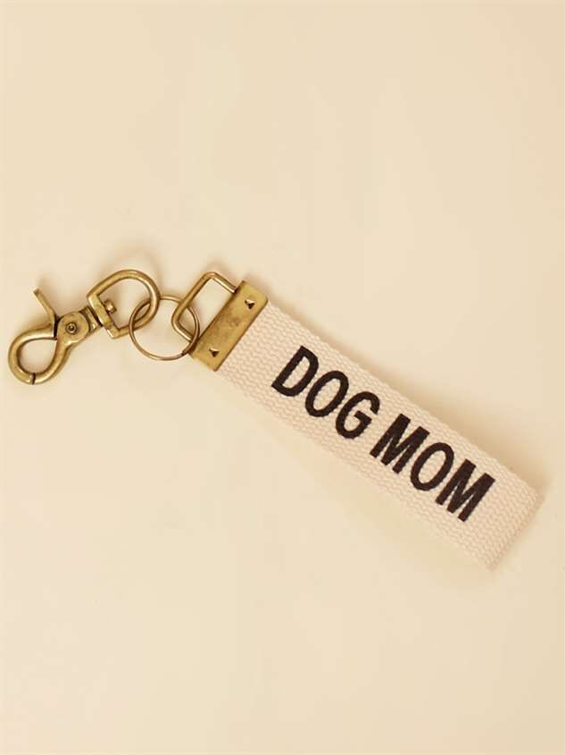 Dog Mom Canvas Keychain