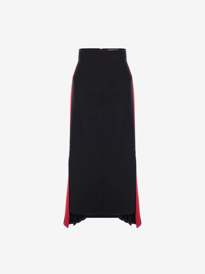 60d92efd8356d6 Alexander Mcqueen Military Midi Skirt. Black wool stretch midi pencil skirt  with military-inspired red stripe detailing on the side.
