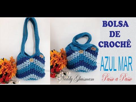 Bolsa de Crochê Azul Mar – Passo a Passo Por Neddy Ghusmam
