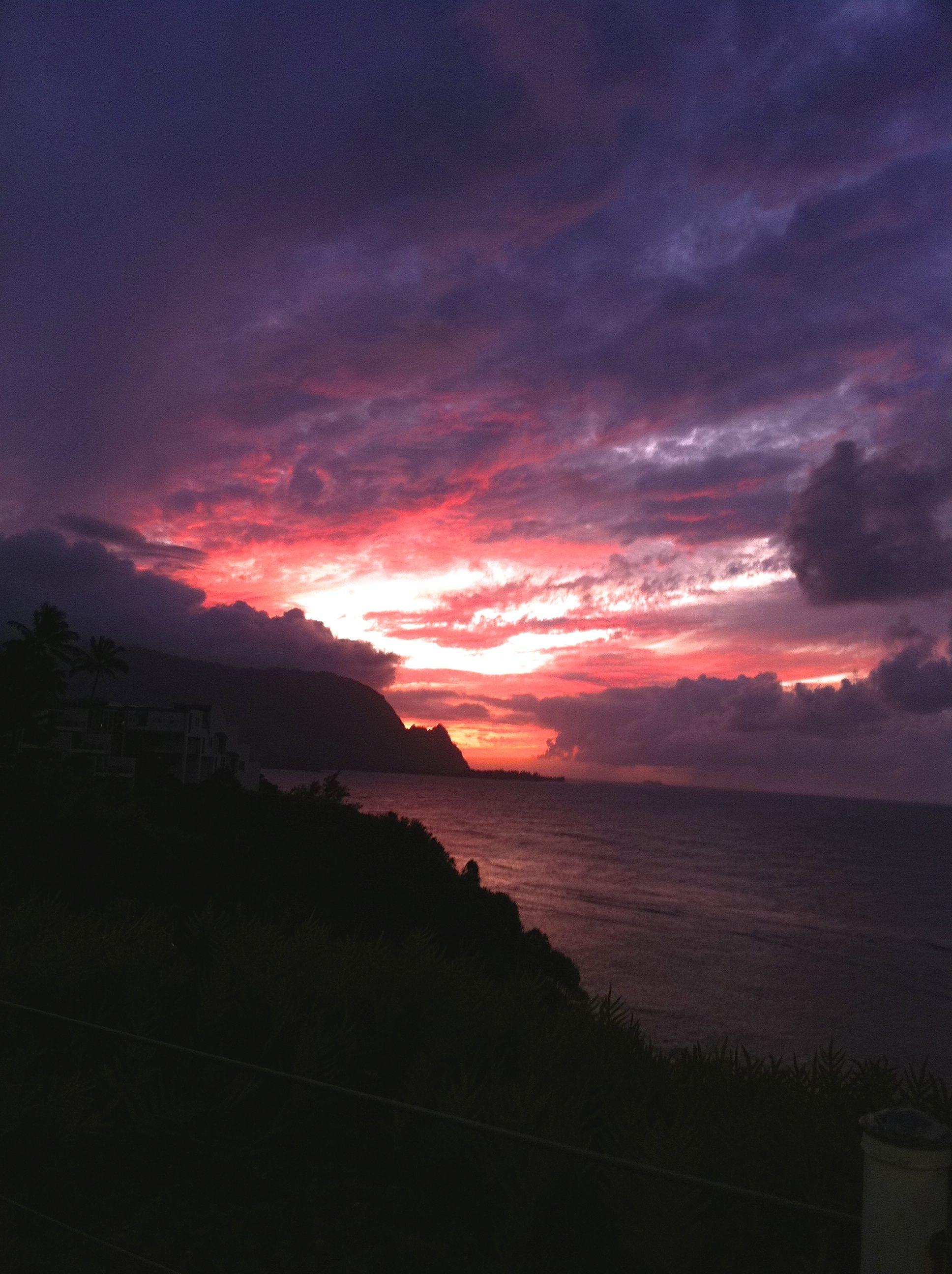 The last rays of light over Bali Hai, near Hanalei Bay, Kauai. A little drama?