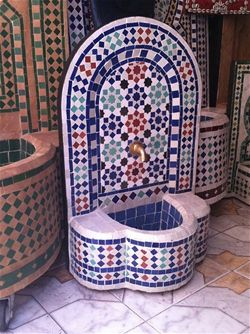 Moroccan Mosaic Fountain Fountains Tile Garden