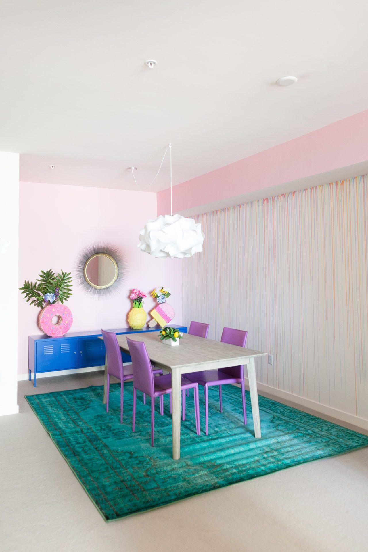 DIY Rainbow Drip Paint Wall | Dinning room | Pinterest ...