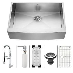 Vigo All-in-One Farmhouse Stainless Steel 33x22.25x10 0-Hole Single Bowl Kitchen Sink-VG15088 at The Home Depot