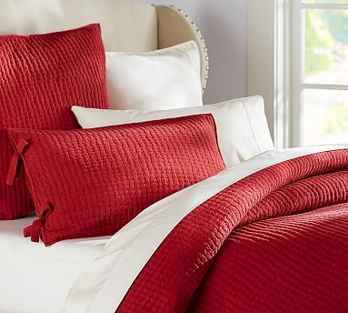 Pick-Stitch Handcrafted Quilt, King/Cal. King, Cardinal Red
