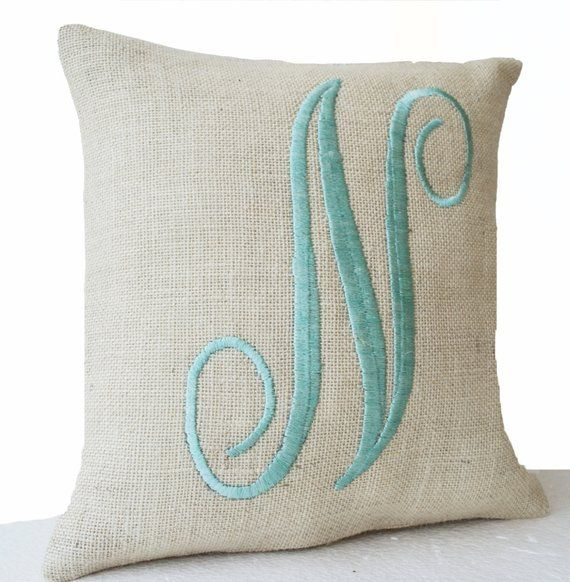 Farmhouse Pillow Monogram Pillow Cover Letter Throw Pillow